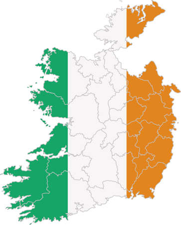 eire: Map and flag of Ireland