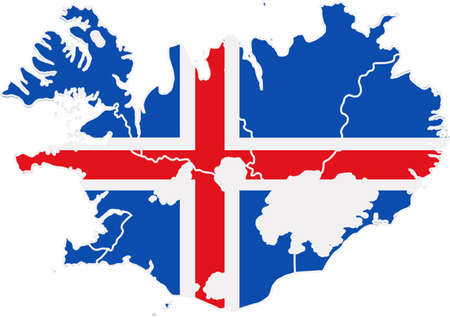 iceland: Map and flag of Iceland