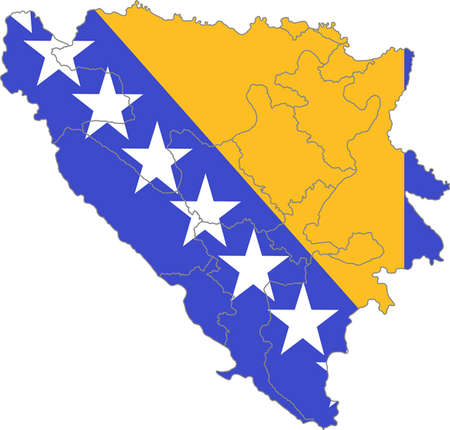 bosnia and herzegovina flag: Map and flag of Bosnia and Herzegovina
