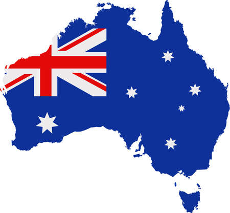 Map and flag of Australia Illustration