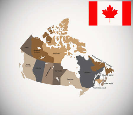 black and white newfoundland dog: Detailed vector map of Canada