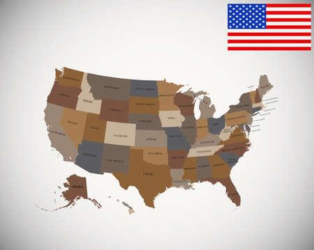 Kleurrijke kaart van de VS met staten