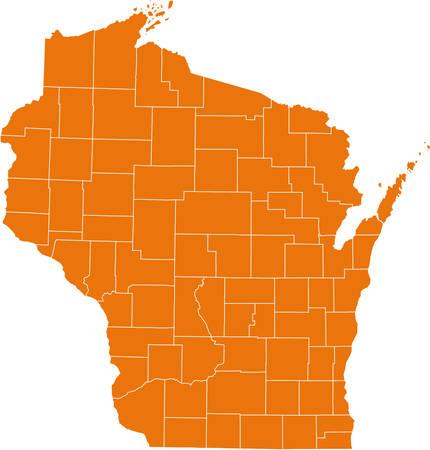 kaart van Wisconsin