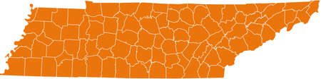 orange county: map of Tennessee Illustration