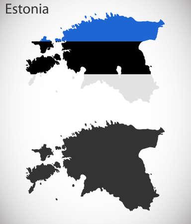 Carte et pavillon de l'Estonie