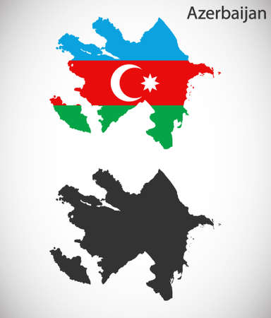 azerbaijanian: Map and flag of Azerbaijan Illustration