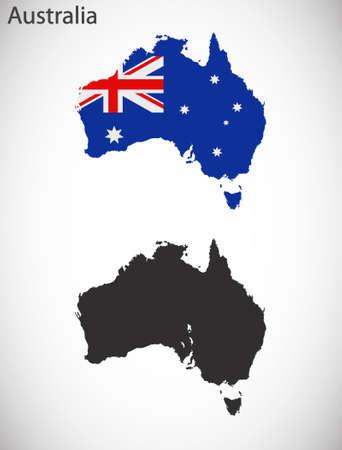 kaart en de vlag van Australië