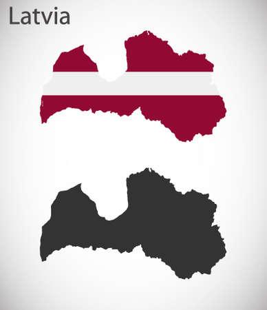 latvia: Map and flag of Latvia