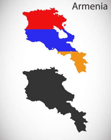 yerevan: Map and flag of Armenia