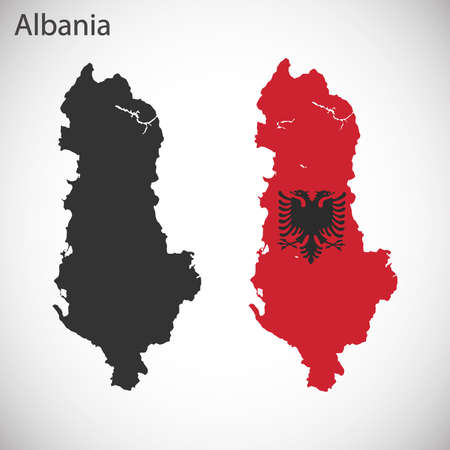 shilouette: Map and flag of Albania