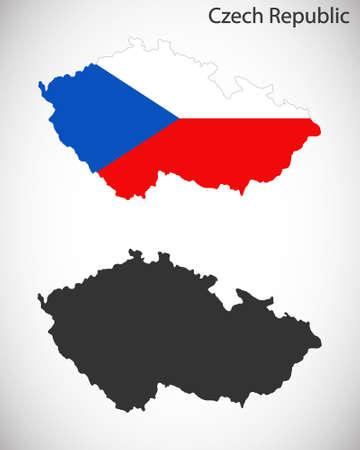 czech: Map and flag of Czech Republic