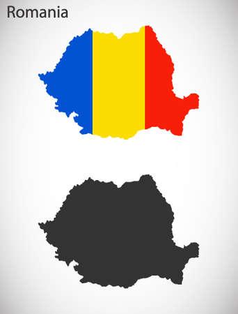 rumania: Map and flag of Romania Illustration