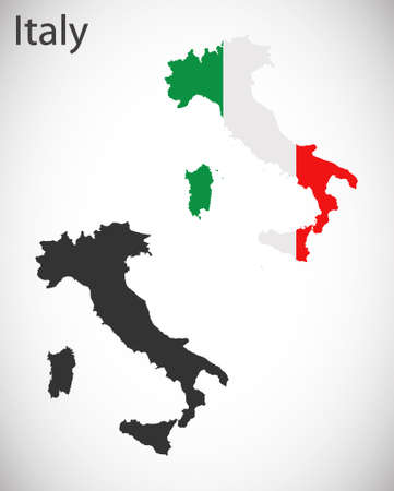 cilia: Map and flag of Italy Illustration