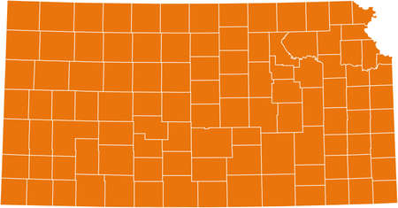 orange county: map of Kansas Illustration