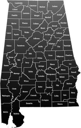 alabama: map of Alabama