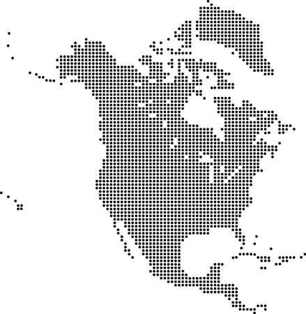 Gestippelde kaart van Noord-Amerika
