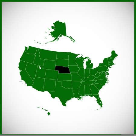 nebraska: USA state Of Nebraska Map