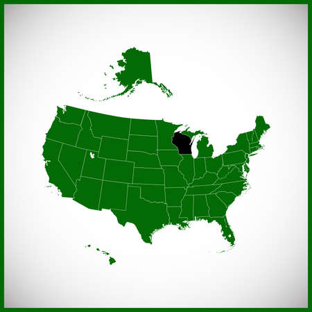 USA state Of Wisconsin map