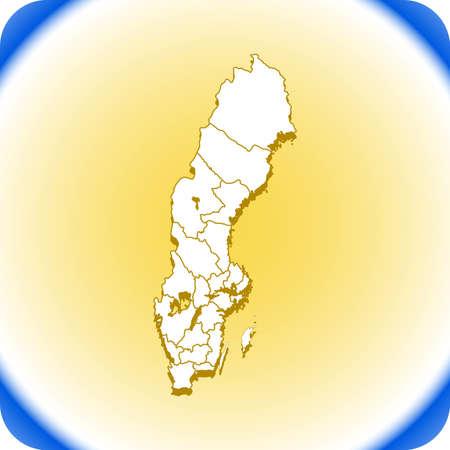 Map of Sweden. Illustration
