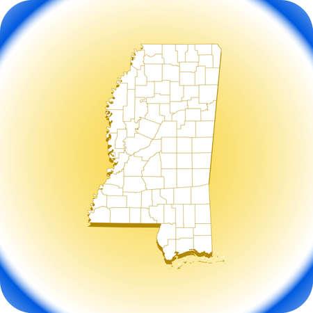 map of Mississippi.  vector illustration