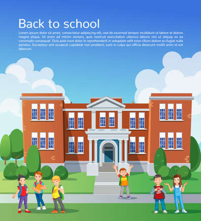 young tree: Happy school children in front of school. design template Illustration
