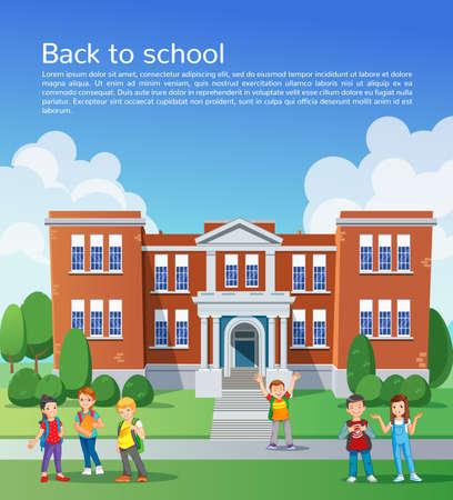 happy children: Happy school children in front of school. design template Illustration