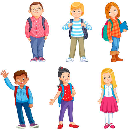pupils with school backpacks Illustration