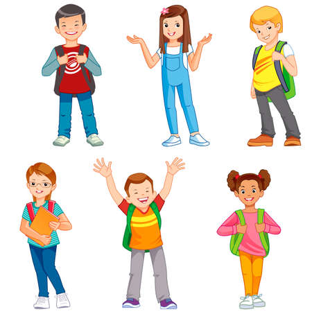 cartoon teenager: pupils with school backpacks Illustration