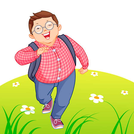 kid running: Happy kid running on the lawn Illustration