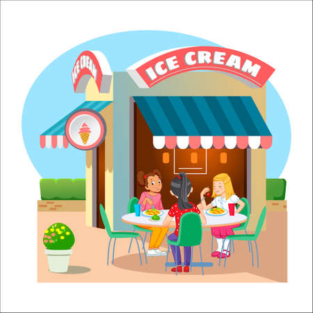 Ice cream. Street cafe Illustration