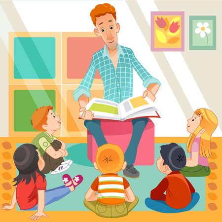 maestra leyendo para niños