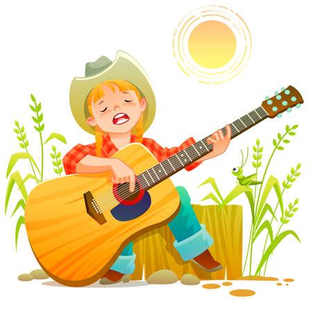 Girl playing guitar. Vetores