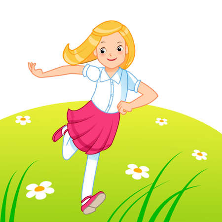 Little girl running on the lawn