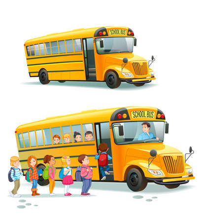 Children get on school bus.Transportation pupil or student, transport and automobile. Vector illustration Vettoriali