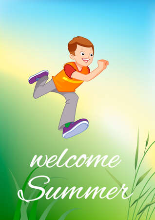 Illustration of a young boy jumping for joy outdoors