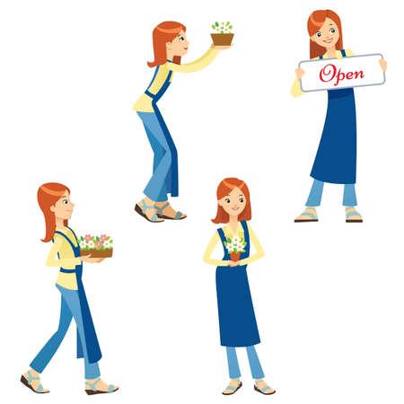 A set vector illustration of a girl florist businesswoman