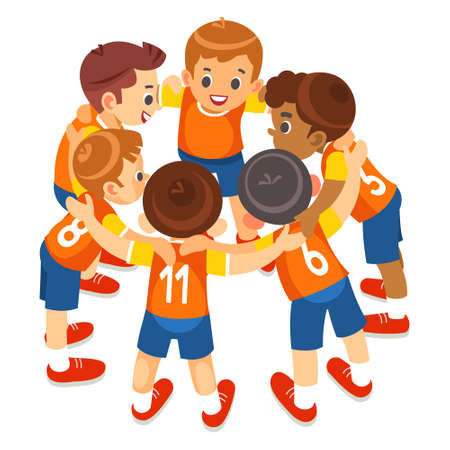 Young boys sports team on stadium. Football players in sportswear motivating before the match. Youth soccer tournament game for kids. Isolated vector illustration