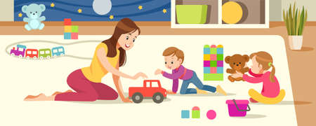 Children's creativity. Mother And Children Playing With toys in the playroom. Concept motherhood child-rearing. Vector cartoon illustration. Stockfoto - 126626956