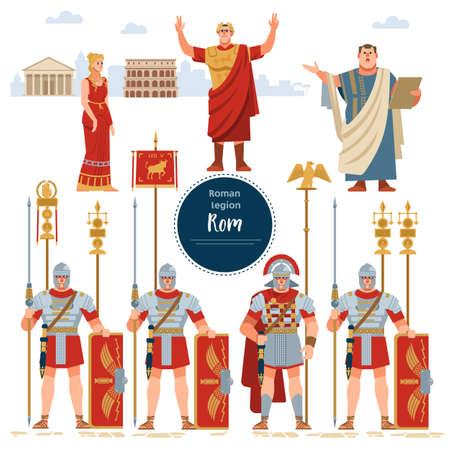 Umieszczona w starożytnym Rzymie ilustracja historyczna piechota wojskowa w pełnej zbroi z tarczami.