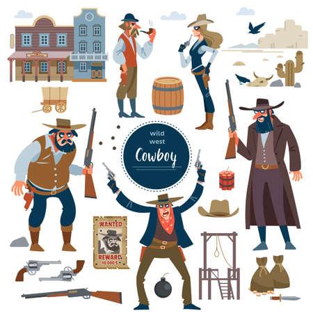 Cowboy, wild west set. Flat isolated vector illustration Illustration