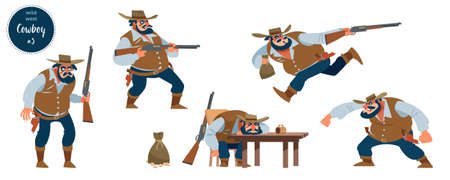 Wild west cowboy design concept with flat human character