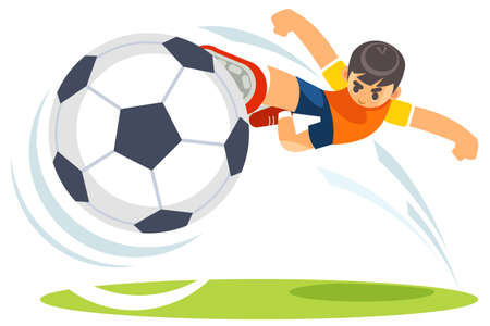 Football, soccer match. A player shooting on goal performing a bicycle kick. Vector cartoon funny illustration of cute boy football player kicks on goal.