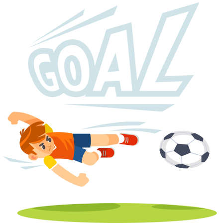 soccer football kick striker scoring goal with accurate shot. cartoon kids sports