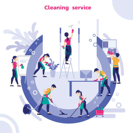Group Of Janitors In Uniform Cleaning The Office With Cleaning Equipments, Vector illustration Illustration