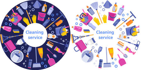 Cleaning service flat illustration. House cleaning services with various cleaning tools in a circle. Blue and white isolated option.