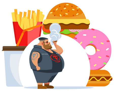 Fat biker smokes. Health care concept. Junk meal leads to obesity. Vector flat cartoon illustration.