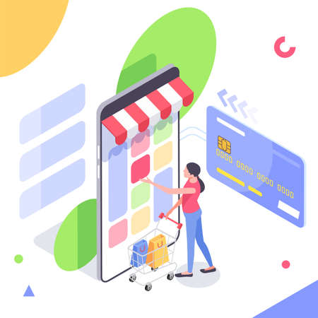 Online Buying. Isometric Smart smartphone online shopping concept. Smartphone turned into internet shop. Mobile marketing and e-commerce