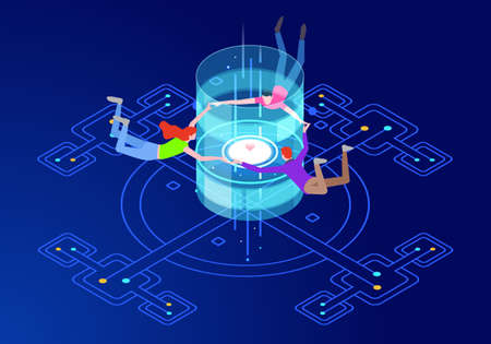 Teamwork. Virtual reality communication concept with characters. Can use for web banner, infographics, hero images. Flat isometric vector illustration.
