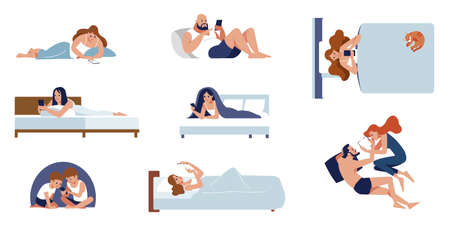 A collection of cute people lying on the bed talking on the phone. Lots of men and women chatting on social networks. Colorful flat cartoon style isolated vector illustration. 일러스트