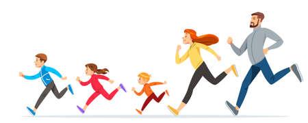 Familia feliz con niños corriendo o trotando por deporte y mejor estado físico en verano. Buenas relaciones en familia. Cuidados básicos de salud para las personas. Ilustración para anunciar correr deporte.